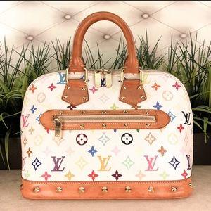 Authentic Louis Vuitton Alma White Multicolored